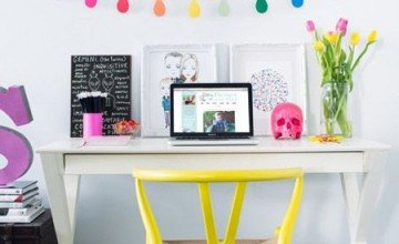 colorful home office design with yellow chair