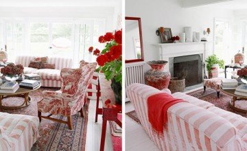 living room design with red furniture