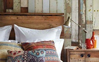 colorful rustic bedroom