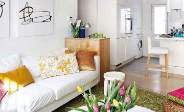 small apartment decorated with white