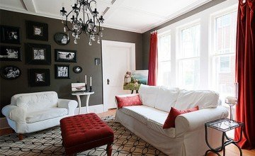 white and red living room design